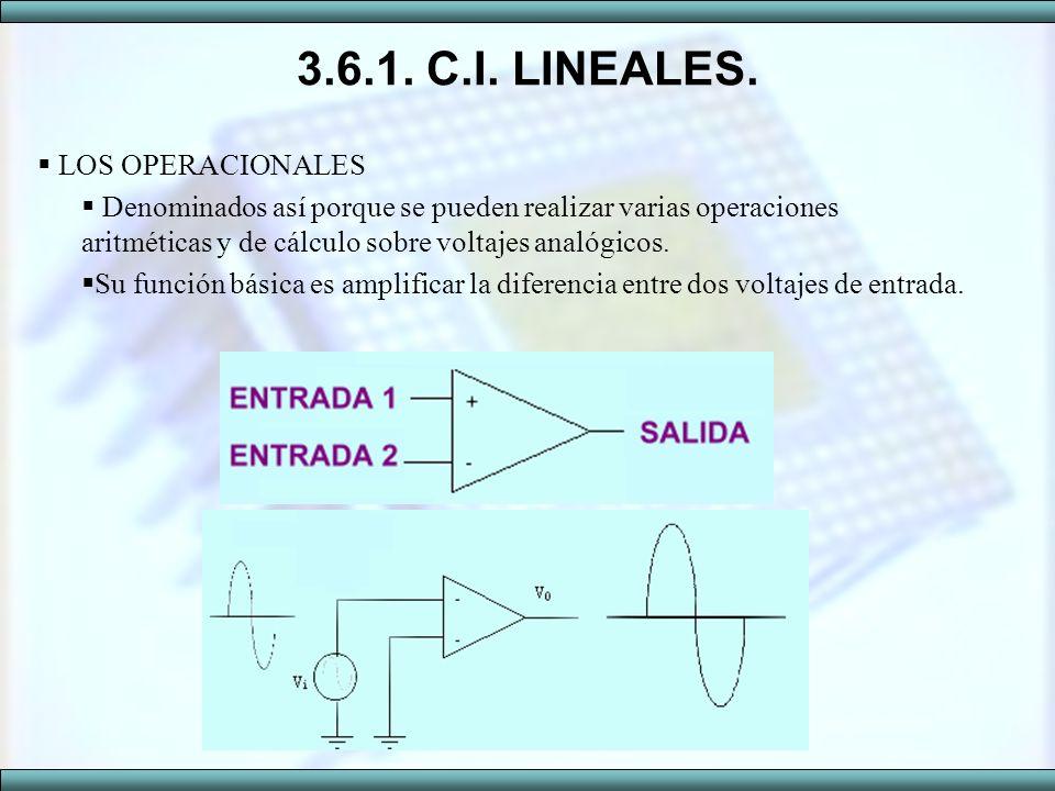 3.6.1. C.I. LINEALES. LOS OPERACIONALES Denominados así porque se pueden realizar varias operaciones aritméticas y de cálculo sobre voltajes analógico