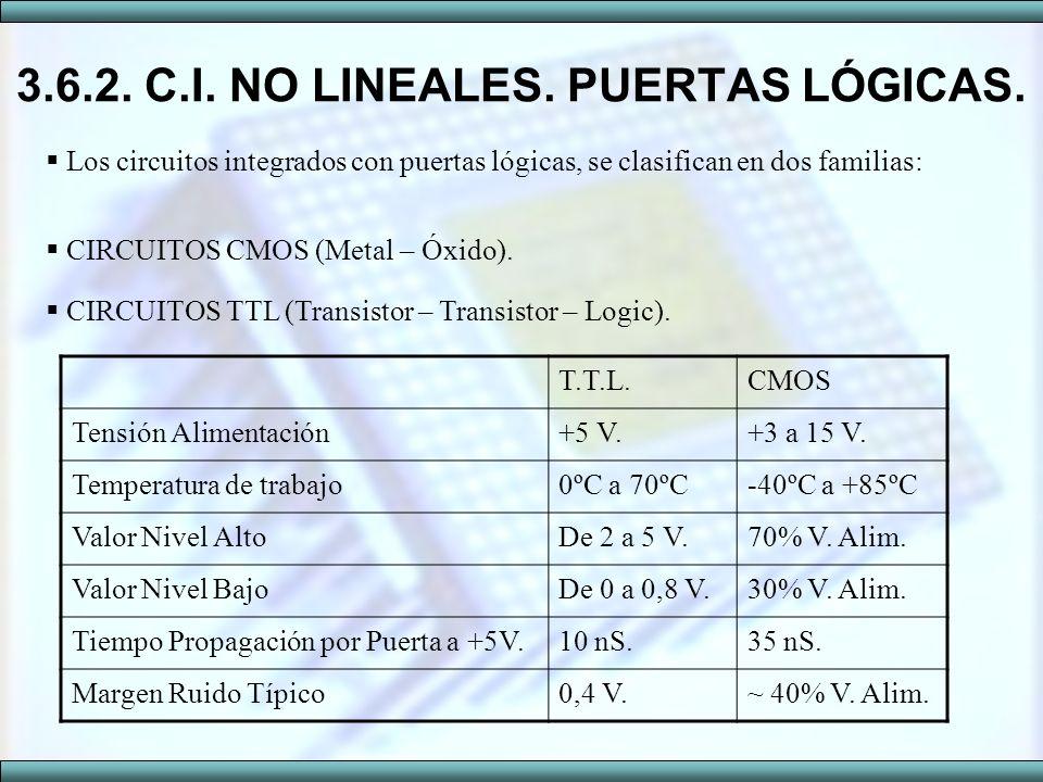 3.6.2. C.I. NO LINEALES. PUERTAS LÓGICAS. Los circuitos integrados con puertas lógicas, se clasifican en dos familias: CIRCUITOS TTL (Transistor – Tra