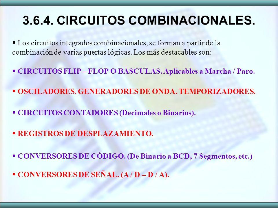 3.6.4. CIRCUITOS COMBINACIONALES. Los circuitos integrados combinacionales, se forman a partir de la combinación de varias puertas lógicas. Los más de