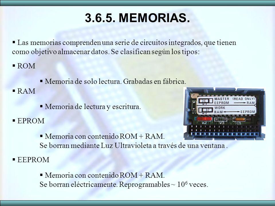 3.6.5. MEMORIAS. Las memorias comprenden una serie de circuitos integrados, que tienen como objetivo almacenar datos. Se clasifican según los tipos: R