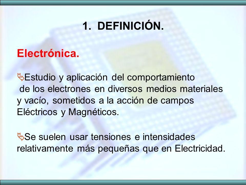 1. DEFINICIÓN. Electrónica. Estudio y aplicación del comportamiento de los electrones en diversos medios materiales y vacío, sometidos a la acción de