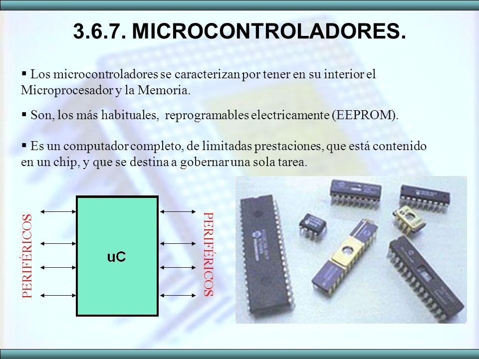 3.6.7. MICROCONTROLADORES. Los microcontroladores se caracterizan por tener en su interior el Microprocesador y la Memoria. Son, los más habituales, r