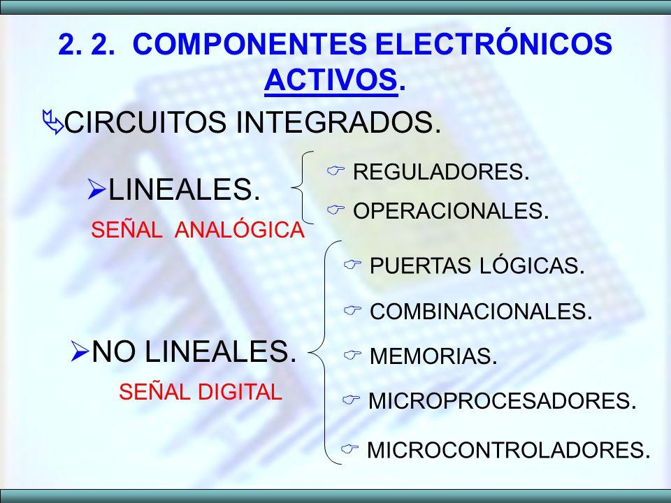 CIRCUITOS INTEGRADOS. 2. 2. COMPONENTES ELECTRÓNICOS ACTIVOS. LINEALES. REGULADORES. OPERACIONALES. SEÑAL ANALÓGICA NO LINEALES. SEÑAL DIGITAL PUERTAS