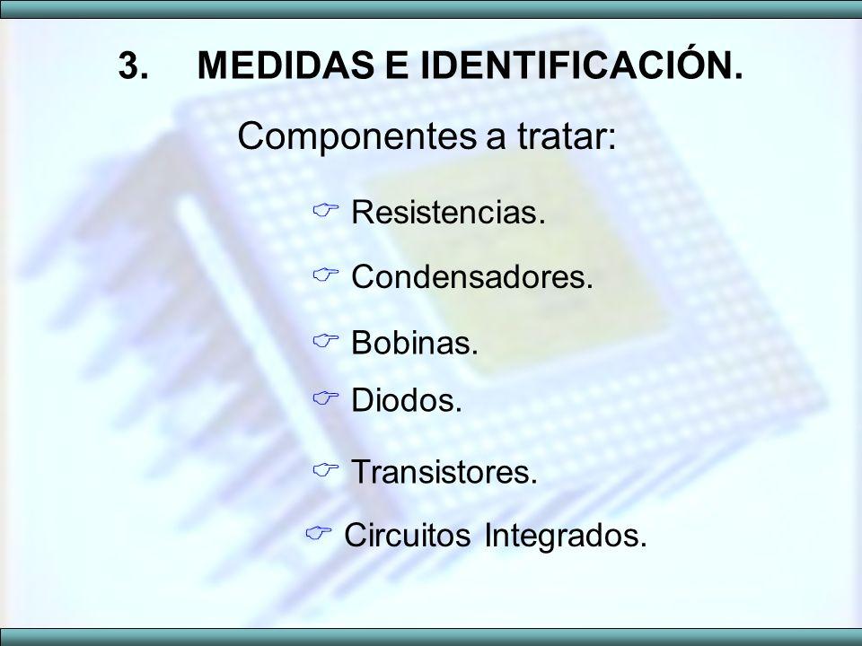 3.MEDIDAS E IDENTIFICACIÓN. Componentes a tratar: Resistencias. Condensadores. Bobinas. Diodos. Transistores. Circuitos Integrados.