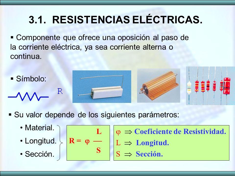3.1.RESISTENCIAS ELÉCTRICAS. Su valor depende de los siguientes parámetros: Material. Longitud. Sección. Componente que ofrece una oposición al paso d