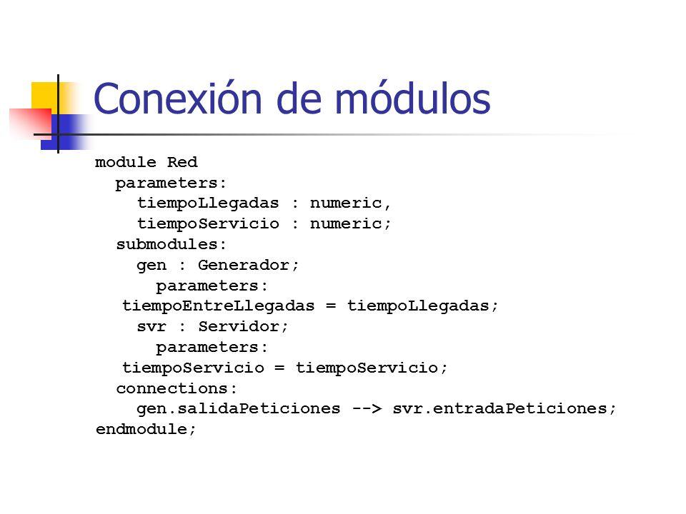 Conexión de módulos module Red parameters: tiempoLlegadas : numeric, tiempoServicio : numeric; submodules: gen : Generador; parameters: tiempoEntreLlegadas = tiempoLlegadas; svr : Servidor; parameters: tiempoServicio = tiempoServicio; connections: gen.salidaPeticiones --> svr.entradaPeticiones; endmodule;