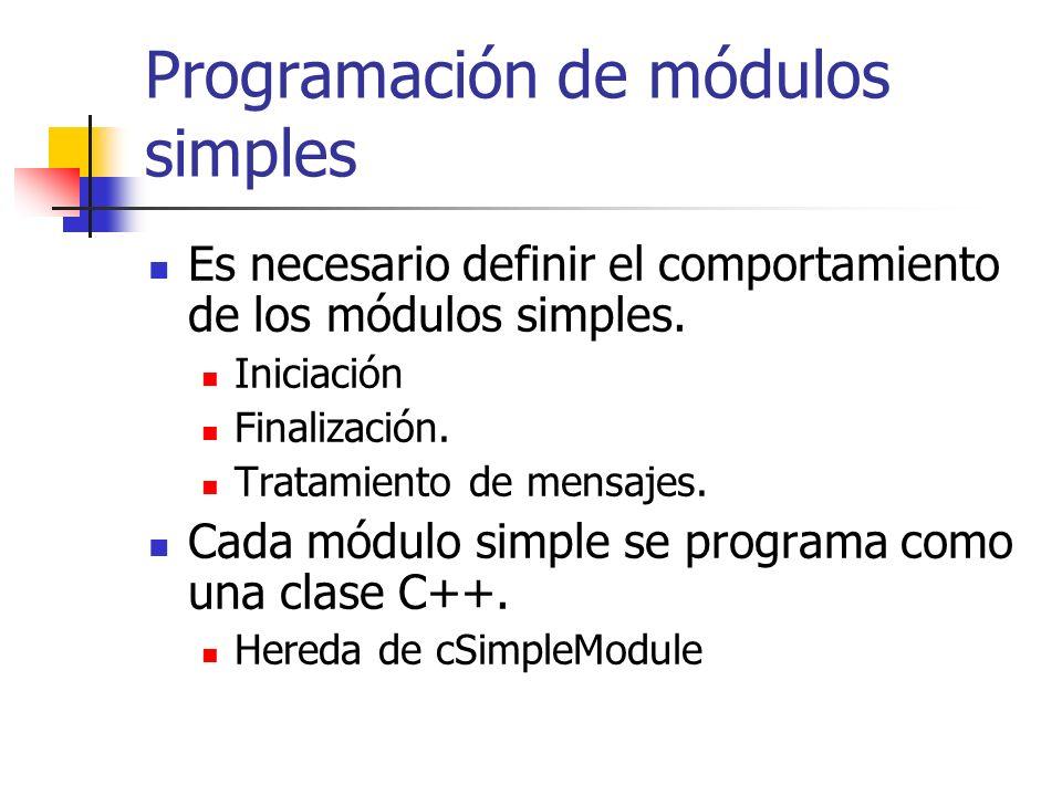 Programación de módulos simples Es necesario definir el comportamiento de los módulos simples.