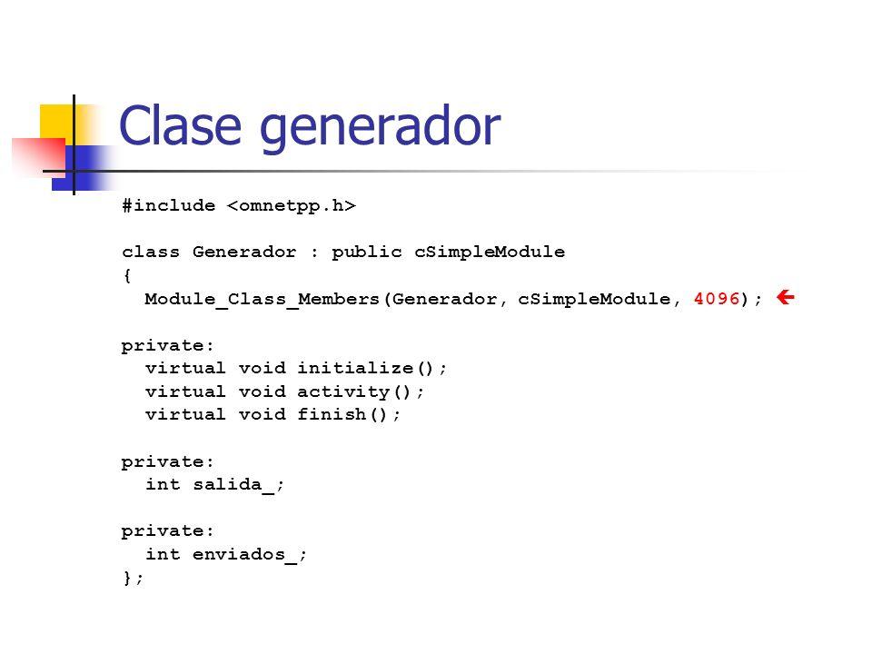 Clase generador #include class Generador : public cSimpleModule { Module_Class_Members(Generador, cSimpleModule, 4096); private: virtual void initialize(); virtual void activity(); virtual void finish(); private: int salida_; private: int enviados_; };