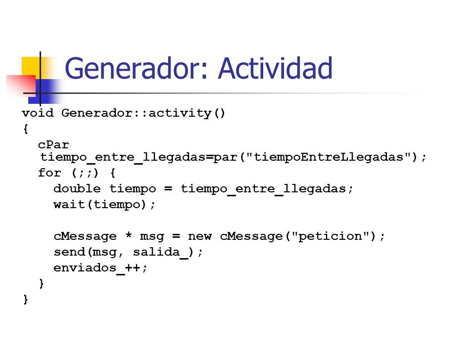 Generador: Actividad void Generador::activity() { cPar tiempo_entre_llegadas=par( tiempoEntreLlegadas ); for (;;) { double tiempo = tiempo_entre_llegadas; wait(tiempo); cMessage * msg = new cMessage( peticion ); send(msg, salida_); enviados_++; }
