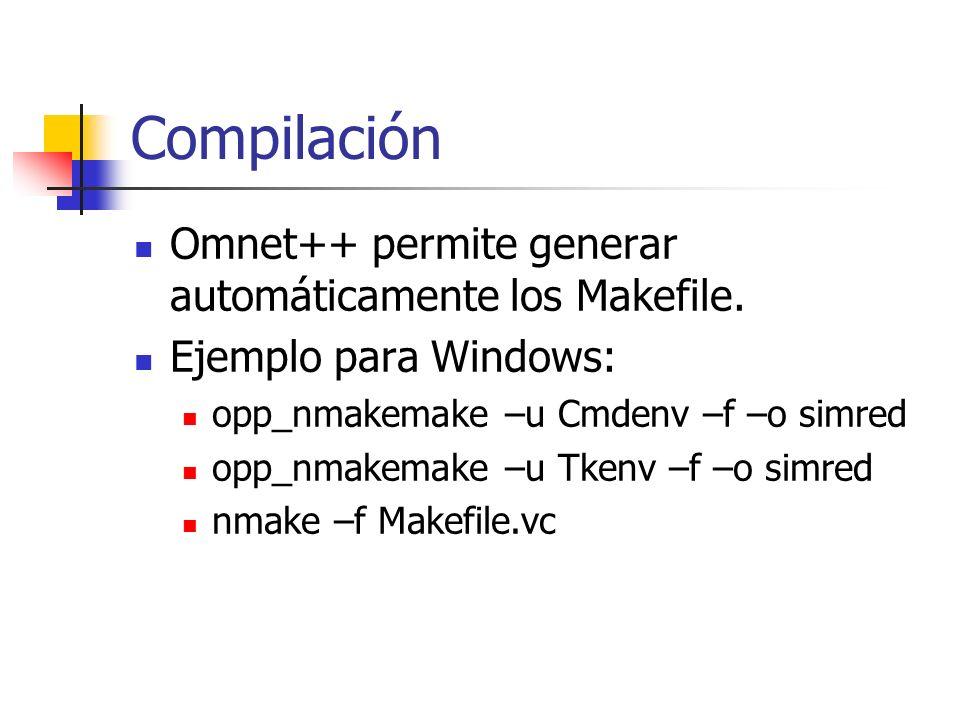 Compilación Omnet++ permite generar automáticamente los Makefile.