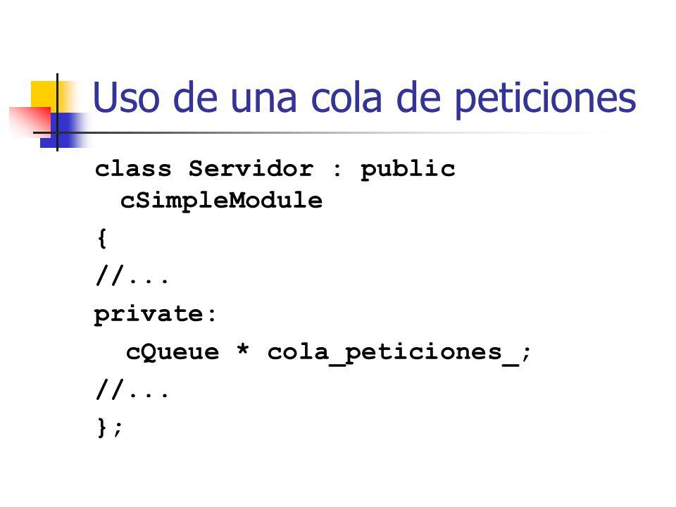 Uso de una cola de peticiones class Servidor : public cSimpleModule { //...