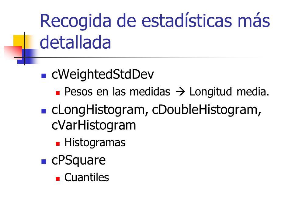 Recogida de estadísticas más detallada cWeightedStdDev Pesos en las medidas Longitud media.