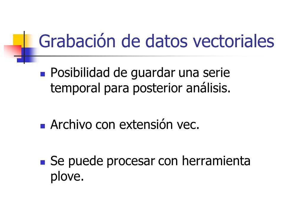 Grabación de datos vectoriales Posibilidad de guardar una serie temporal para posterior análisis.