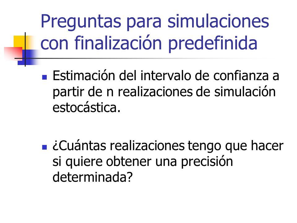 Preguntas para simulaciones con finalización predefinida Estimación del intervalo de confianza a partir de n realizaciones de simulación estocástica.