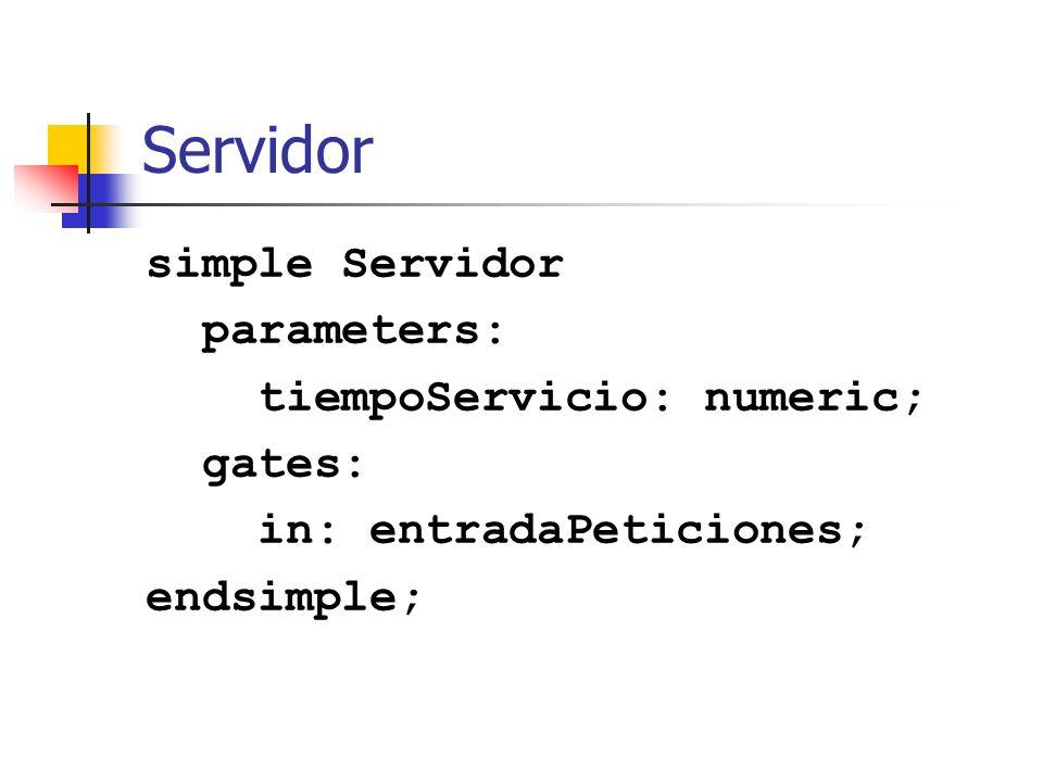 Servidor: Actividad void Servidor::activity() { cPar tiempo_servicio = par( tiempoServicio ); for (;;) { cMessage * msg = receive(); delete msg; double tiempo = tiempo_servicio; wait(tiempo); procesados_++; }