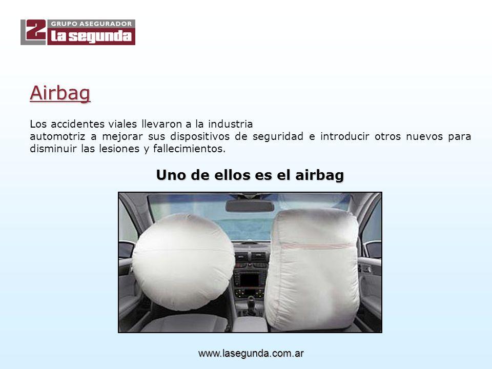 Airbag Los accidentes viales llevaron a la industria automotriz a mejorar sus dispositivos de seguridad e introducir otros nuevos para disminuir las lesiones y fallecimientos.