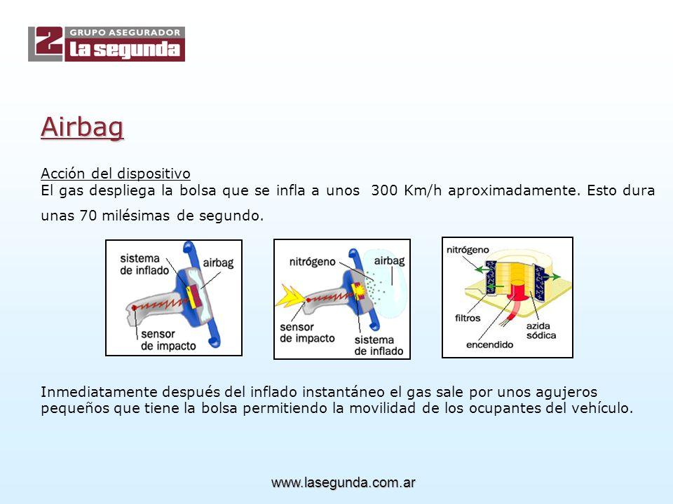 Acción del dispositivo El gas despliega la bolsa que se infla a unos 300 Km/h aproximadamente.
