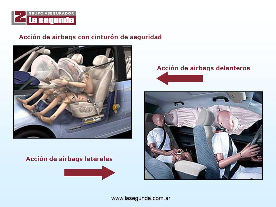 Acción de airbags delanteros Acción de airbags laterales Acción de airbags con cinturón de seguridad www.lasegunda.com.ar