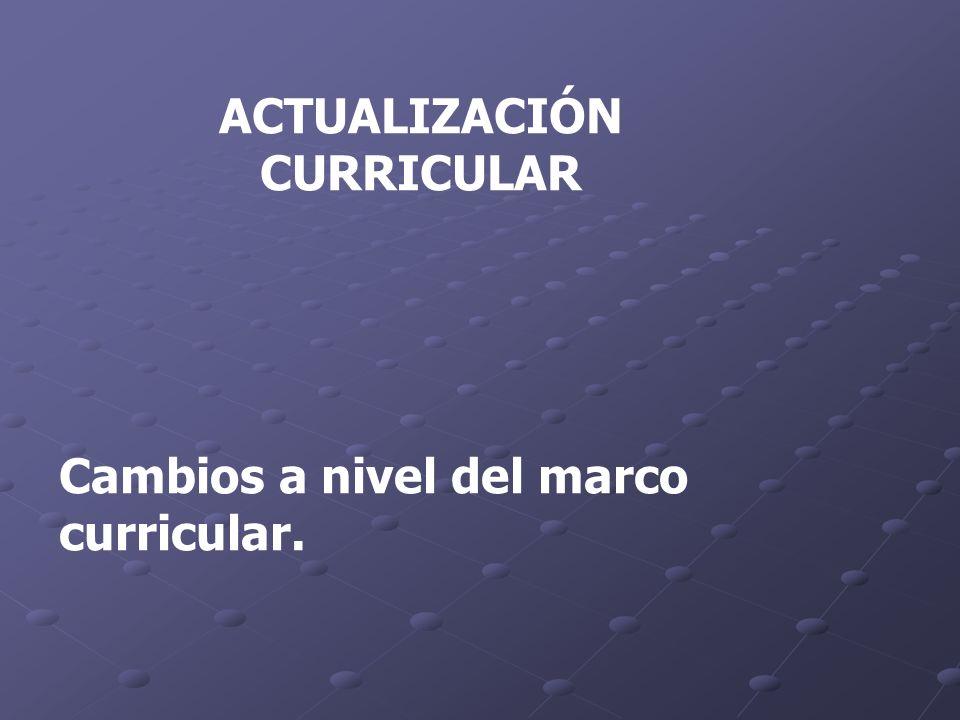 ACTUALIZACIÓN CURRICULAR Cambios a nivel del marco curricular.