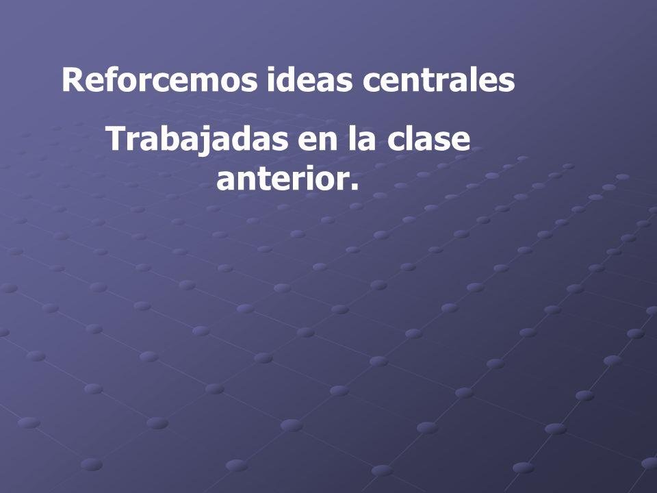 Reforcemos ideas centrales Trabajadas en la clase anterior.