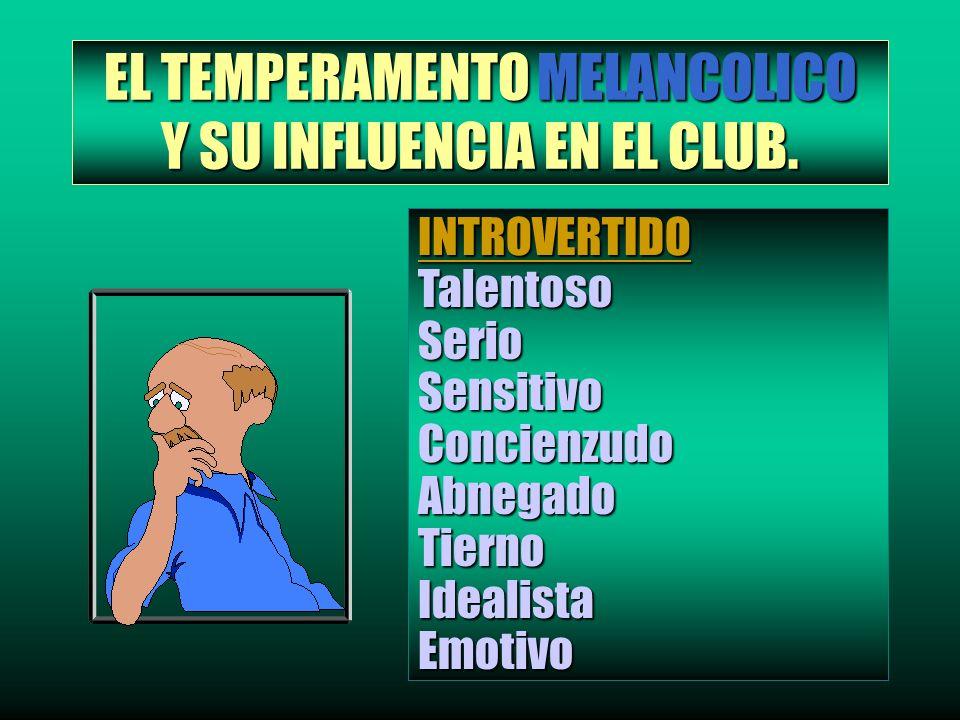 EL TEMPERAMENTO MELANCOLICO Y SU INFLUENCIA EN EL CLUB. INTROVERTIDOTalentosoSerioSensitivoConcienzudoAbnegadoTiernoIdealistaEmotivo