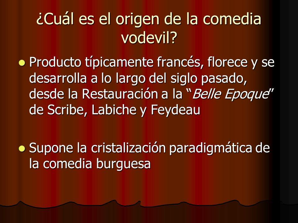 ¿Cuál es el origen de la comedia vodevil? Producto típicamente francés, florece y se desarrolla a lo largo del siglo pasado, desde la Restauración a l