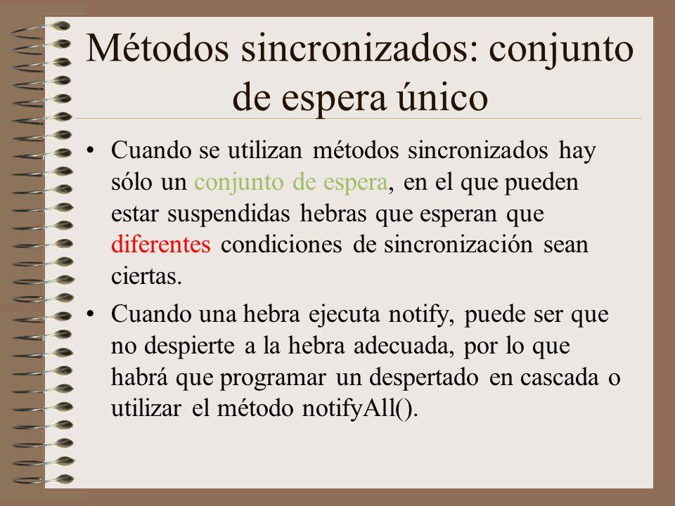 Métodos sincronizados: conjunto de espera único Cuando se utilizan métodos sincronizados hay sólo un conjunto de espera, en el que pueden estar suspendidas hebras que esperan que diferentes condiciones de sincronización sean ciertas.