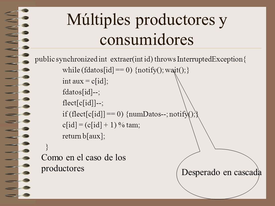 Múltiples productores y consumidores public synchronized int extraer(int id) throws InterruptedException{ while (fdatos[id] == 0) {notify(); wait();}