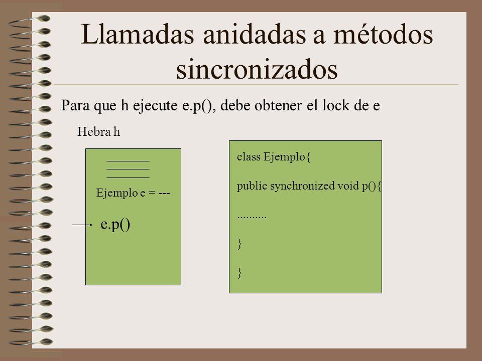 Llamadas anidadas a métodos sincronizados Para que h ejecute e.p(), debe obtener el lock de e Hebra h class Ejemplo{ public synchronized void p(){....