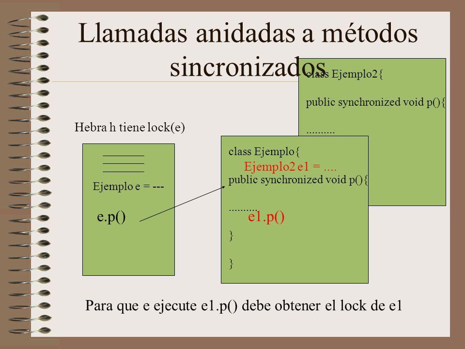 class Ejemplo2{ public synchronized void p(){..........