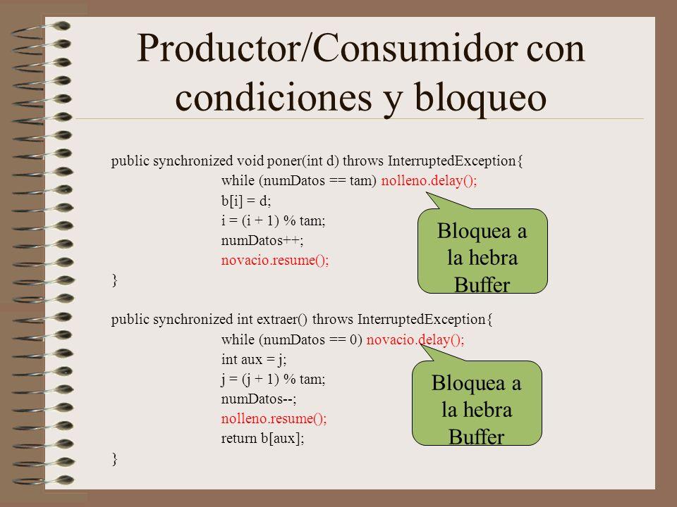 Productor/Consumidor con condiciones y bloqueo public synchronized void poner(int d) throws InterruptedException{ while (numDatos == tam) nolleno.delay(); b[i] = d; i = (i + 1) % tam; numDatos++; novacio.resume(); } public synchronized int extraer() throws InterruptedException{ while (numDatos == 0) novacio.delay(); int aux = j; j = (j + 1) % tam; numDatos--; nolleno.resume(); return b[aux]; } Bloquea a la hebra Buffer