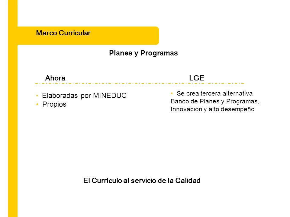 Marco Curricular Planes y Programas El Currículo al servicio de la Calidad Se crea tercera alternativa Banco de Planes y Programas, Innovación y alto