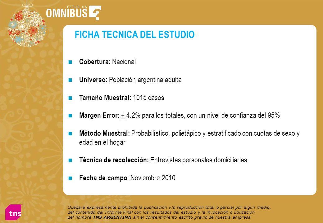 Cobertura: Nacional Universo: Población argentina adulta Tamaño Muestral: 1015 casos Margen Error : + 4.2% para los totales, con un nivel de confianza