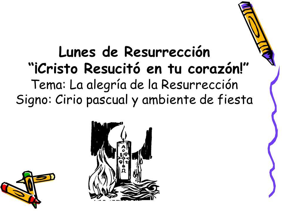 Lunes de Resurrección ¡Cristo Resucitó en tu corazón! Tema: La alegría de la Resurrección Signo: Cirio pascual y ambiente de fiesta