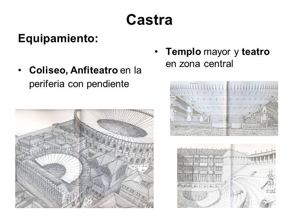 Castra Equipamiento: Coliseo, Anfiteatro en la periferia con pendiente Templo mayor y teatro en zona central