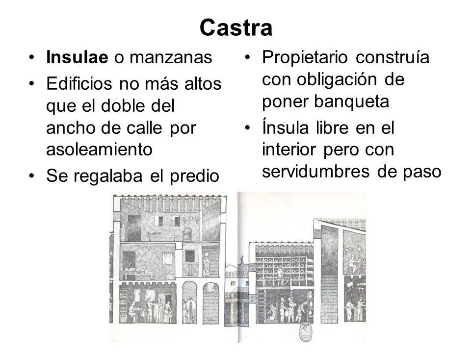 Castra Insulae o manzanas Edificios no más altos que el doble del ancho de calle por asoleamiento Se regalaba el predio Propietario construía con obli