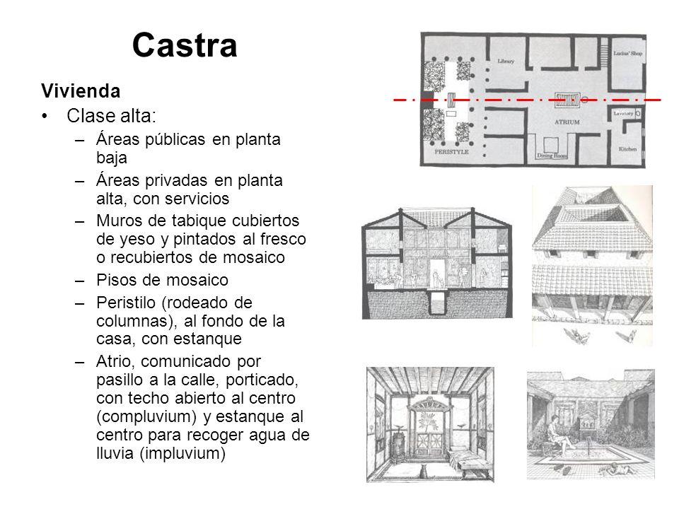 Castra Vivienda Clase alta: –Áreas públicas en planta baja –Áreas privadas en planta alta, con servicios –Muros de tabique cubiertos de yeso y pintado