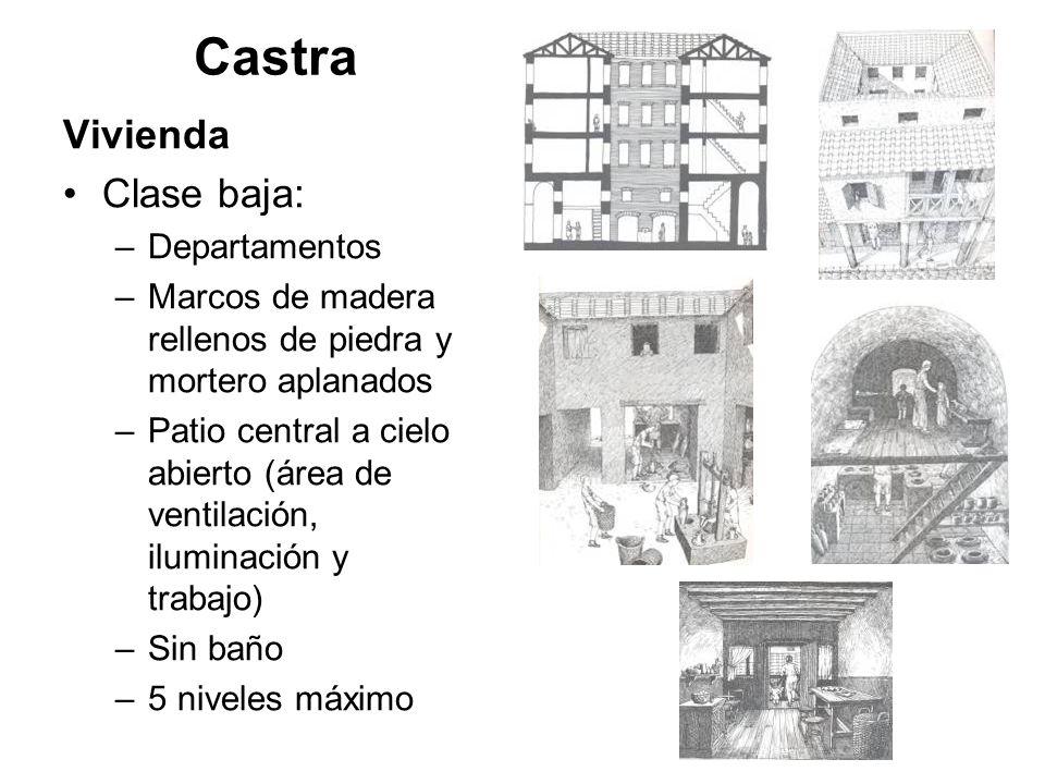Castra Vivienda Clase baja: –Departamentos –Marcos de madera rellenos de piedra y mortero aplanados –Patio central a cielo abierto (área de ventilació