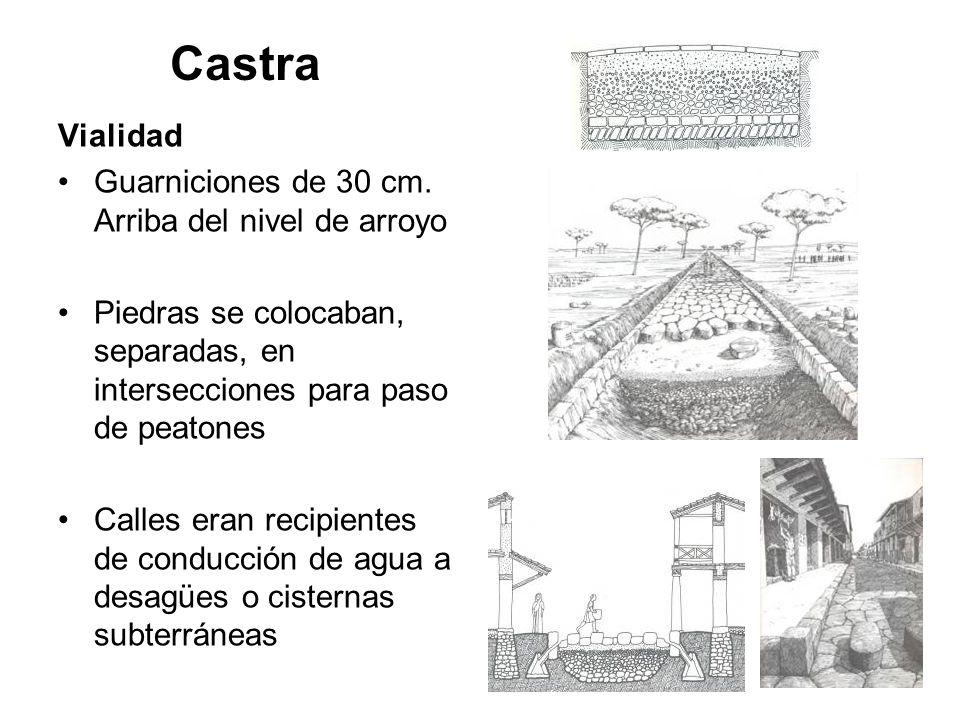 Castra Vialidad Guarniciones de 30 cm. Arriba del nivel de arroyo Piedras se colocaban, separadas, en intersecciones para paso de peatones Calles eran