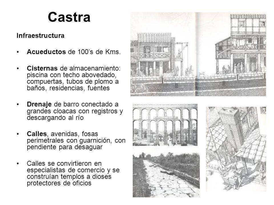 Castra Infraestructura Acueductos de 100s de Kms. Cisternas de almacenamiento: piscina con techo abovedado, compuertas, tubos de plomo a baños, reside