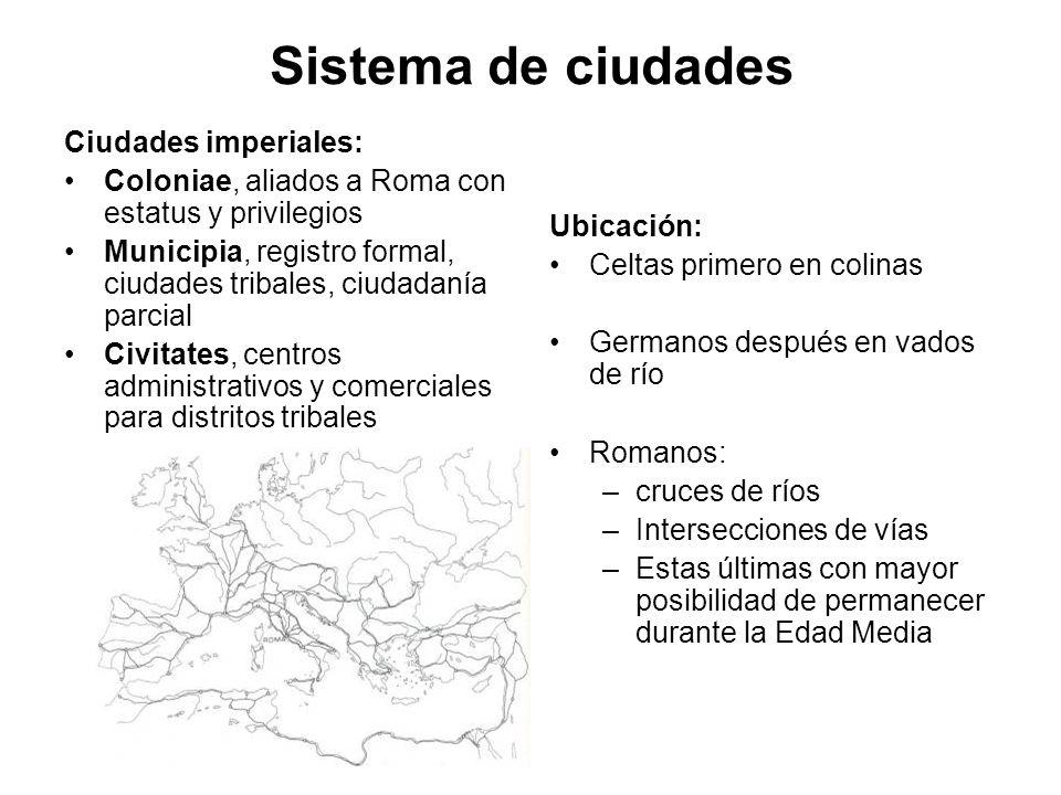 Sistema de ciudades Ciudades imperiales: Coloniae, aliados a Roma con estatus y privilegios Municipia, registro formal, ciudades tribales, ciudadanía
