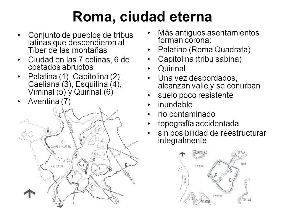 Roma, ciudad eterna Conjunto de pueblos de tribus latinas que descendieron al Tíber de las montañas Ciudad en las 7 colinas, 6 de costados abruptos Pa