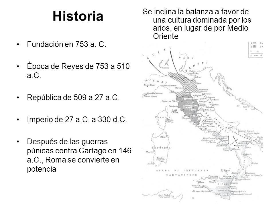 Historia Fundación en 753 a. C. Época de Reyes de 753 a 510 a.C. República de 509 a 27 a.C. Imperio de 27 a.C. a 330 d.C. Después de las guerras púnic