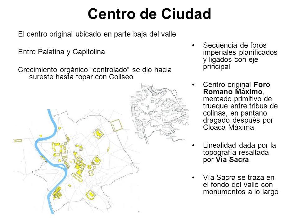 Centro de Ciudad El centro original ubicado en parte baja del valle Entre Palatina y Capitolina Crecimiento orgánico controlado se dio hacia sureste h