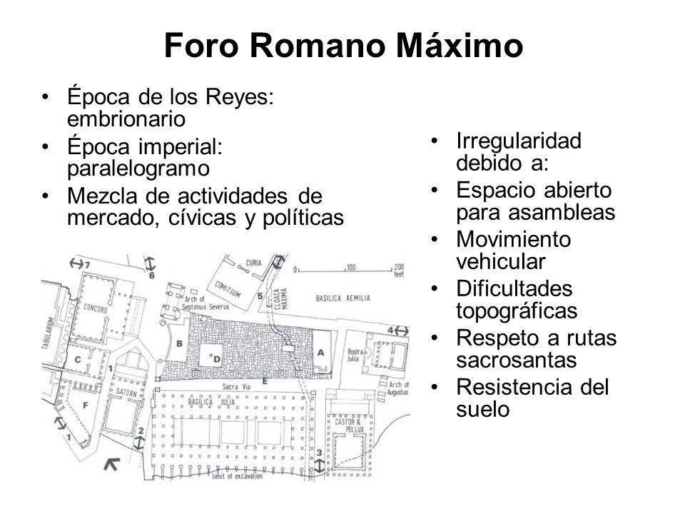 Foro Romano Máximo Época de los Reyes: embrionario Época imperial: paralelogramo Mezcla de actividades de mercado, cívicas y políticas Irregularidad d