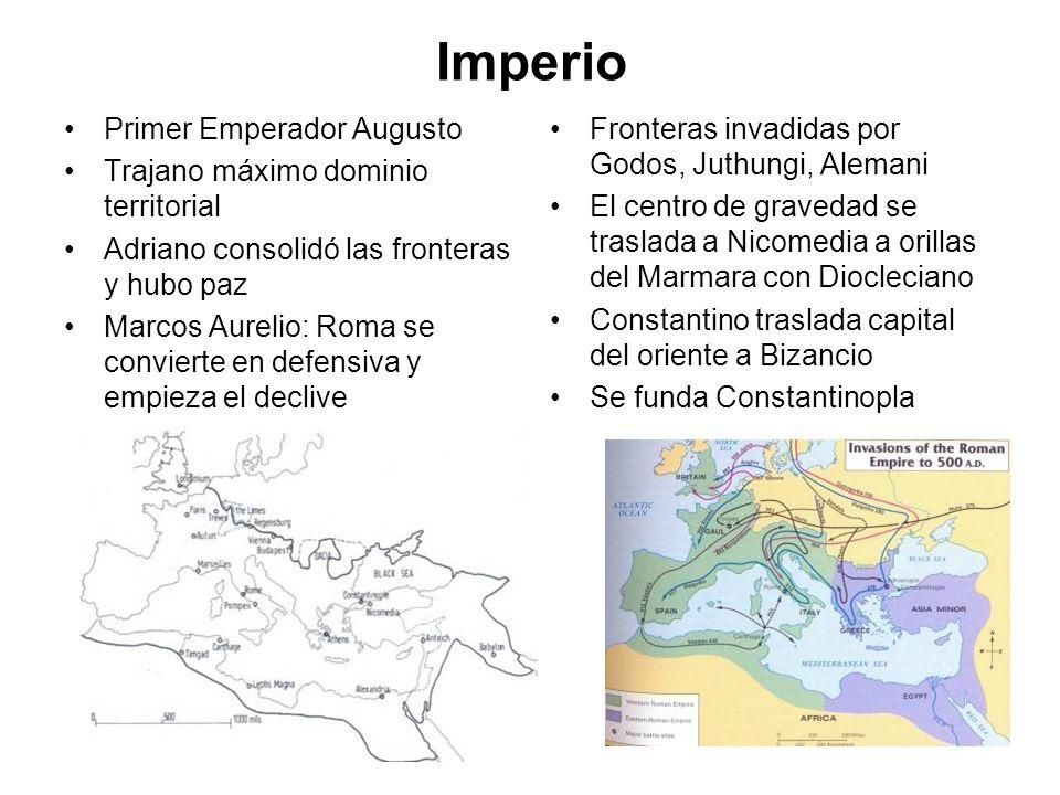 Imperio Primer Emperador Augusto Trajano máximo dominio territorial Adriano consolidó las fronteras y hubo paz Marcos Aurelio: Roma se convierte en de