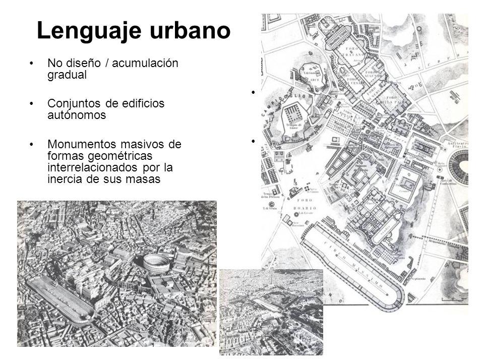 Lenguaje urbano No diseño / acumulación gradual Conjuntos de edificios autónomos Monumentos masivos de formas geométricas interrelacionados por la ine