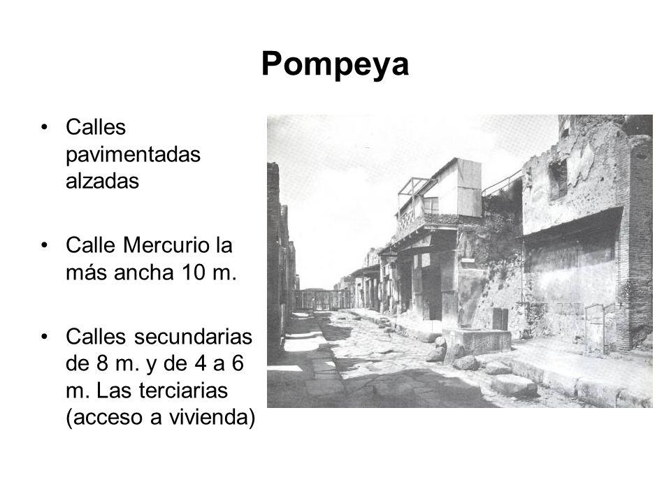 Pompeya Calles pavimentadas alzadas Calle Mercurio la más ancha 10 m. Calles secundarias de 8 m. y de 4 a 6 m. Las terciarias (acceso a vivienda)