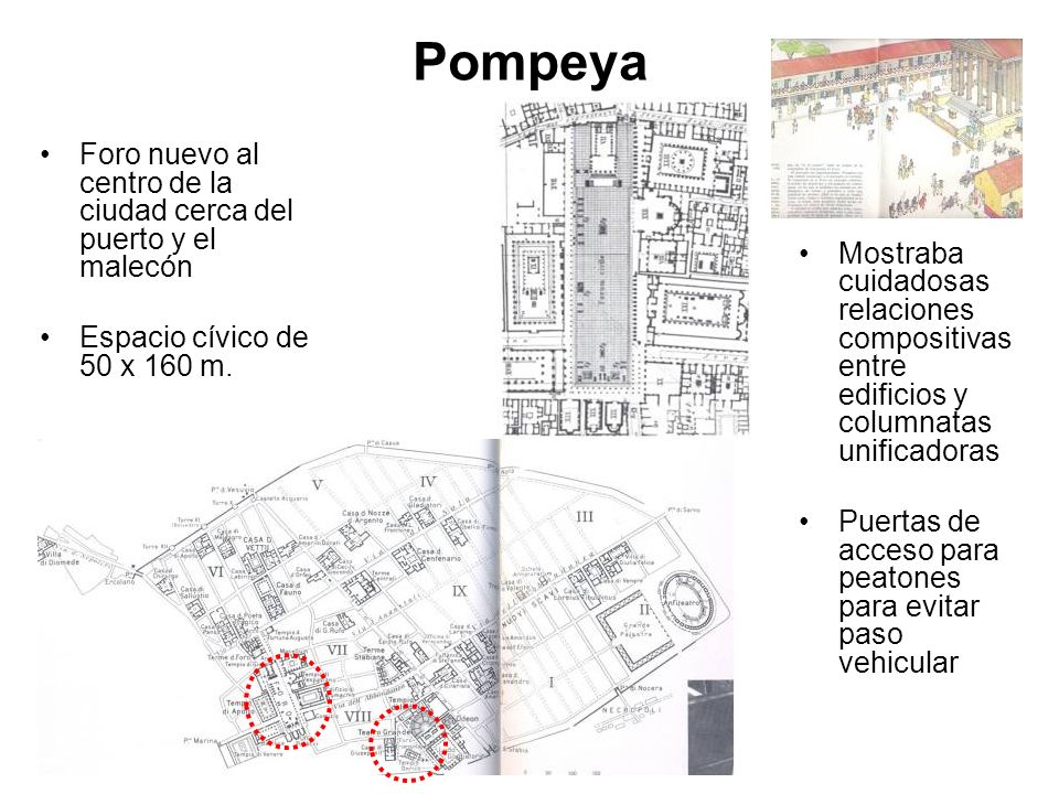 Pompeya Foro nuevo al centro de la ciudad cerca del puerto y el malecón Espacio cívico de 50 x 160 m. Mostraba cuidadosas relaciones compositivas entr