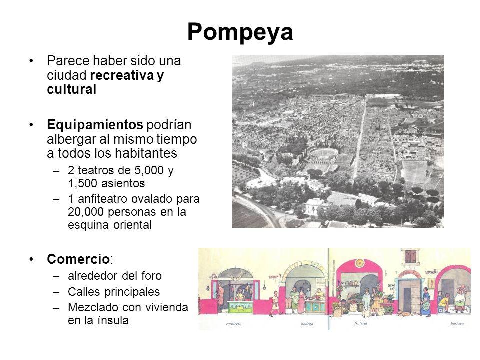 Pompeya Parece haber sido una ciudad recreativa y cultural Equipamientos podrían albergar al mismo tiempo a todos los habitantes –2 teatros de 5,000 y